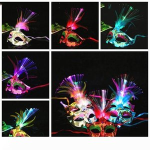 Glowing Fiber Mask Led Princess Feather Mask Halloween Masquerade Luminous toy Party props Childrens Toys fashion item LXL994-1