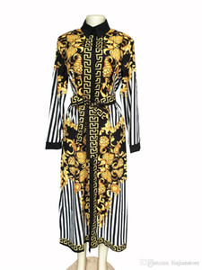 Spring Women Digital Printed Dress Women Casual Dresses with Saches Fashion Female Striped Panelled Clothing