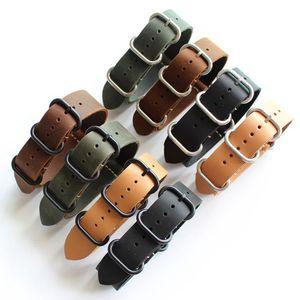 18mm 20mm 22mm 24mm 26mm Cinturino Nato Vera Pelle Nero Verde Marrone Giallo Cinturino Nero Fibbia / Argento Fibbia Nato Cinghie Y19052301