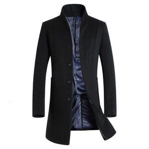 2019 Nueva capa larga de lana de los hombres de moda Lana Pea Coat Jacket mezclas para el invierno chaquetas para hombre abrigo de lana