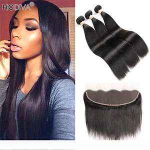 Brazilian Straight Virgin Unprocessed Human Hair Bundle With Lace Frontal 13*4 Pre Plucked Baby Hair 3 Pcs Hair with Frontal 4Pcs lot
