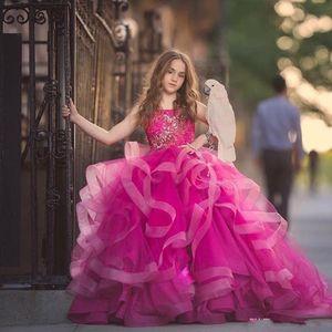 Güzel 2019 Yeni Prenses Çiçek Kız Elbise Spagetti Sapanlar Aplikler Katmanlı Etekler Düğün Çocuklar Için İlk Communion Elbise Fuffles