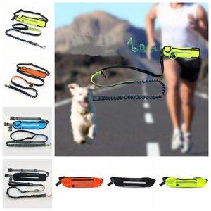 7color Mains libres taille Dog Leash avec double Bungees animaux chiot Laisses avec câble de halage Ceinture Sac pochette pour la course AAA1087