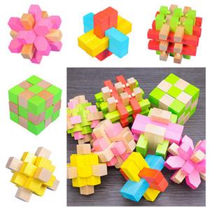 3D IQ Деревянного Brain Puzzle игрушка Bamboo Переплетение головоломка игра отверстие Мин блокировка Любань разборка замок головоломка 3D блокировка 8 стилей