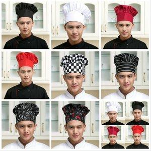 Cozinhar ajustável Chef Hat Homens Kitchen Baker Elastic Hat Catering cozinhar Cap listrado Plain Chapéus de Trabalho Cap Folds tampão do cogumelo 8 cores