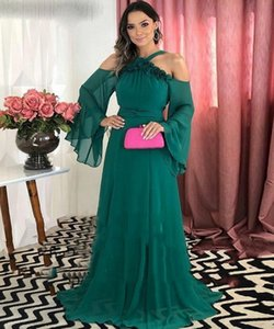 Hunter Green Chiffon Evening Dresses Sexy Long Women Party Gowns Halter Sweep Train A Line Special Occasion Prom Dress Vestidos De Fiesta