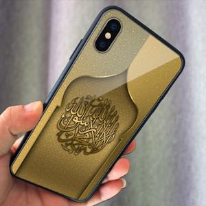Estilo de arte islâmica telefone temperado vidro case áfrica tpu tampa do telefone para iphone xs xs max xr 7 8 plus huawei p20pro mate20