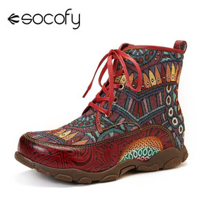 SOCOFY Bohemian Style Big Head Soft Genuine Leather Splicing Flat Ankle Boots Elegant Shoes Women Shoes Botas Mujer