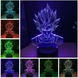 Gros Dragon Ball Super Saiyan Dieu Goku Figurines 3D Illusion Lampe de Table 7 Changement De Couleur Nuit Lumière Garçons Enfant Enfants Bébé Cadeaux