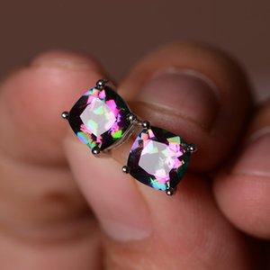 Hot vente 925 Place Coeur Femmes Boucles d'oreilles diamant rose Multicolor Zircon dormeuses gratuit ShippingBa