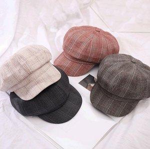İngiliz Retro kareli sekizgen uygun Şapka gündelik ressam yeni kadın kap Kore versiyonu Ücretsiz Kargo Bereliler