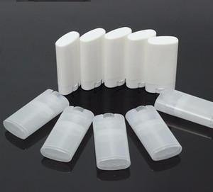 15г Пустой овальный Lip Balm Tube Plastic White Clear Solid Perfume Дезодорант контейнеры Портативный Макияж Помада Трубы SN804