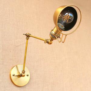 Nordic Latão Retro Estilo Loft Industrial Lâmpada de Parede Do Vintage Balanço Ajustável Arm Wall Light Edison Arandela Apliques Murale E27 / E26