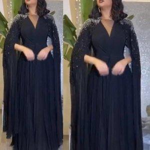 Wanshandress Schwarz V-Ausschnitt A-Linie Abendkleider mit langen Ärmeln wulstigen gefalteter Chiffon- Fußboden-Längen-Abschlussball-Partei-Kleider