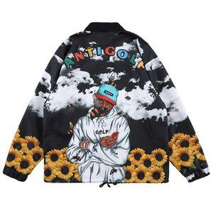 Giacca Uomo Donna 2020 Nuovo Hot Sell autunno del rivestimento superiore del modello di crisantemo Stand Collar Giacca nera e arancione colore selezionato