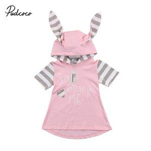 Orejas de conejo lindo 3D para la niña vestido de rayas de manga corta del partido del cabrito vestidos del desfile vestidos formales Vestido de tirantes Ropa