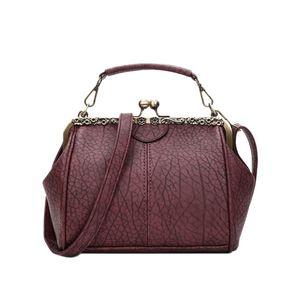 Nova Bolsa Retro Shoulder Bag clipe Handbag Crossbody Bag Zipper Ferrolho Tote Mulheres DO Bolsas de Ombro vinho tinto