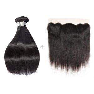 Nami Hair бразильские прямые девственные пучки волос с закрытием Fronta шнурка 13x4 100% выдвижения человеческих волос с закрытием естественный цвет