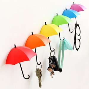 Umbrella decorativa gancho livre de prego auto-adesivo em forma de guarda-chuva sem emenda colorida Objeto pequena chave Gancho Universal