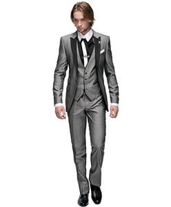 New Arrival Groomsmen One Button Groom Tuxedos Peak Black Lapel Men Suits Wedding Prom Dinner Best Man Blazer ( Jacket+Pants+Tie+Vest ) G74