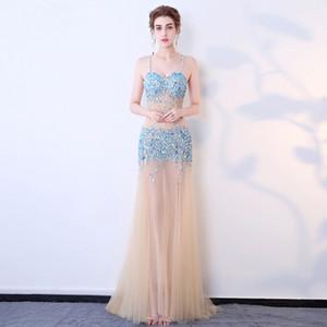 Sexy trasparente vestito Della Bretella backless cucito a mano trapano vestito da prestazione nightclub Auto show modello abito da sera