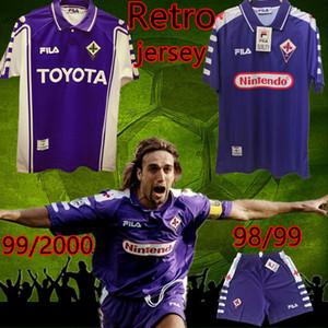 ретро ФИОРЕНТИНА ФЛОРЕНЦИЯ 1998 1999 RUI COSTA BATISTUTA футболка высокого качества из Таиланда комплект футболки camiseta футбол майо де ног