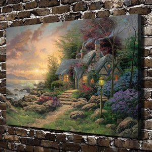 Thomas Kinkade, Seaside Hideaway, 1 pieza, impresiones en lienzo, arte de pared, pintura al óleo, decoración del hogar (sin marco / enmarcado)