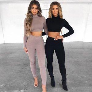 Katı Renk Kadınlar 2 Parça Setleri Uzun Kollu Balıkçı Yaka Kırpma Üst ve Legging Set Rahat Sonbahar Kış Eşleştirme Set Ince
