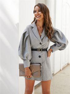 Womens Designer Robe Bureau Robe Vintage Lady Blazer affaires Femmes Printemps Lanterne Casual manches Robe courte