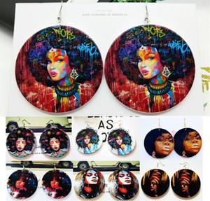 19 Stile Neue Druck Afroamerikanische Frau Holz Ohrringe Runde Form Holz Afrika Stil Ohrring Baumeln Kronleuchter Zubehör