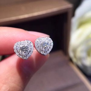 Fine Jewelry 18k Solid White Gold diamond Heart-shaped Stud earrings with two round of diamond jewelry for Women jewelry earring wholesal