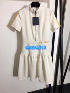 high-end camisa mulheres meninas vestido listrado carta de impressão zip tripulação pescoço manga curta mini-a-linha saia 2020 desfile de moda vestidos de design de luxo
