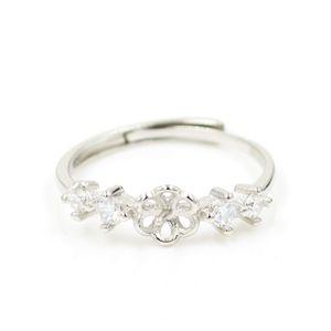 S925 montajes de anillo de plata esterlina con 4 diseño de anillo de diamantes para las mujeres joyería de perlas diy envío gratis apertura ajustable
