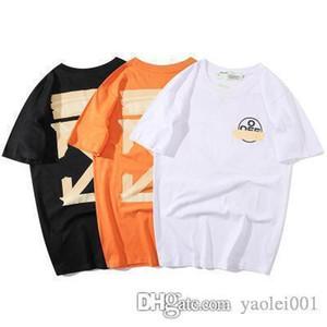 Couple fashion T shirts OW 20ss new black bronzing black gold tape arrow print loose version round neck short sleeve