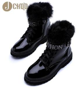 JCHQD True hair Superior quality Women Boots Lace Up Martin Boots Women Ankle Fur Boots Winter warm Women Shoes European size