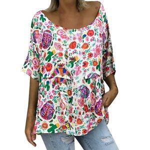 T - shirt beach holiday 여성용 여름 여성용 루스 반소매 라운드 칼라 T 셔츠 프린트 2019 camisa mujer
