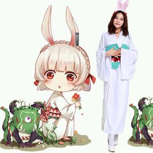 Anime Onmyoji Shikigami Rabbit Inicial Kimono vestido uniforme Cosplay conjunto completo para mujeres envío gratis