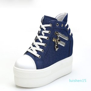 Hot Sale-Canvas Shoes Woman Hidden Heel Height Increasing Casual Shoes Female White Black Blue l15