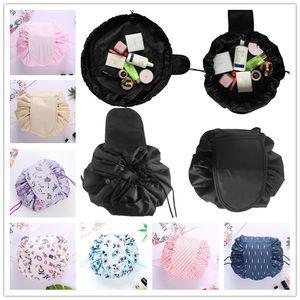 25 Diseños Lazy bolsa de cosméticos de maquillaje mágicos bolsas de cordón bolso diverso organizador del almacenaje de la bolsa del recorrido portátiles Neceser Neceser Unisex
