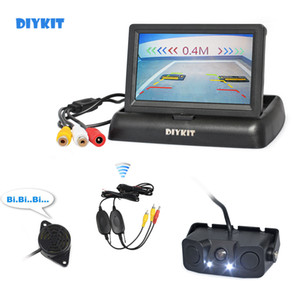 DIYKIT sem fio 4.3inch Car Invertendo Camera Kit Sensor Back Up Monitor de Estacionamento Radar 2 em 1 Car Camera Parking System
