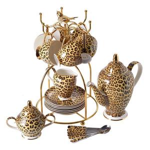 Leopard Print Bone China Café Set de luxe à thé en porcelaine Set avancée Pot en céramique Tasse Sucrier Creamer Teapot Drinkware
