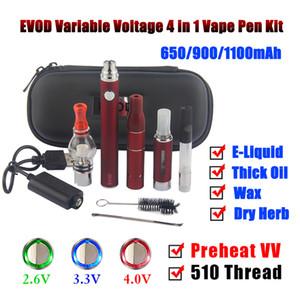 Лучший портативный Dab Oil Pen Курение сухих трав и воска испаритель eVod 4in1 4 в 1 Предварительный нагрев VV Battery eGo 510 Threading