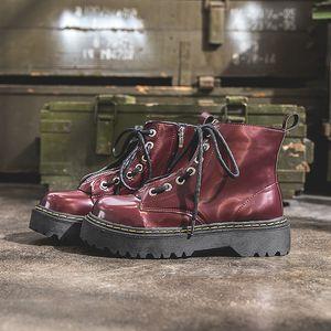 Frauen Motorradstiefel Herbst New Red Zipper Frauen Ankle Boots Winter-PU-Dame-Plattform-Schuhe Botines mujer 2019