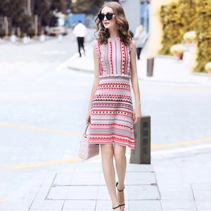 Designer vestido de Womens Vestidos Verão Slim Love Padrão de malha sem mangas Jacquard Vestido Moda Streetwear azul Knit Sweater Dress