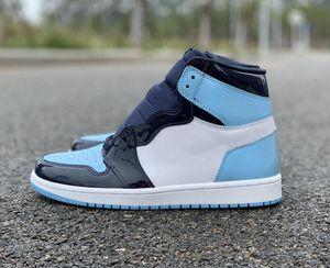 Lo nuevo 1 Obsidiana Blue Chill Hombre blanco zapatos de baloncesto con descuento, me UNC Charol populares señoras de la manera formadores vienen con la caja