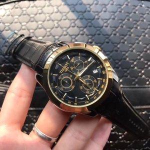 1853 Luxo Alta Qualidade de Empresas de relógio de quartzo completa Função três pequenas Dial Seis Pin Homens Preto Brown Leather Strap Calenda automática