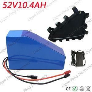 Bag ile 48V 52V Bafang / Tongsheng Motor için 52V Lityum Batarya 51.8V 10Ah Akü Paketi 52V 10Ah Üçgen EBike Pil 30A BMS.