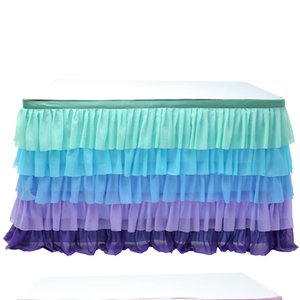 Rainbow Table Skirt Baby Shower Decoration for Home First Birthday Party Decor Wedding Backdrop Xmas New Year Table Cloth Skirts
