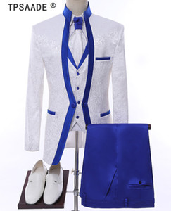 Ternos de casamento branco Royal Blue Rim Stage Roupas para homens Suit Set Mens traje do noivo Tuxedo Formal (Jacket + calça + colete + laço)