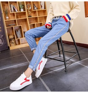 Autumn Winter New Korean Version Elastic Waist Jeans Female Student bf Loose 9 Minutes Harun Pants Women's Pants